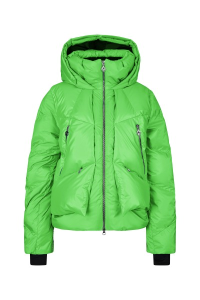 Real down ski jacket with mother-of-pearl effect and fashionable collar