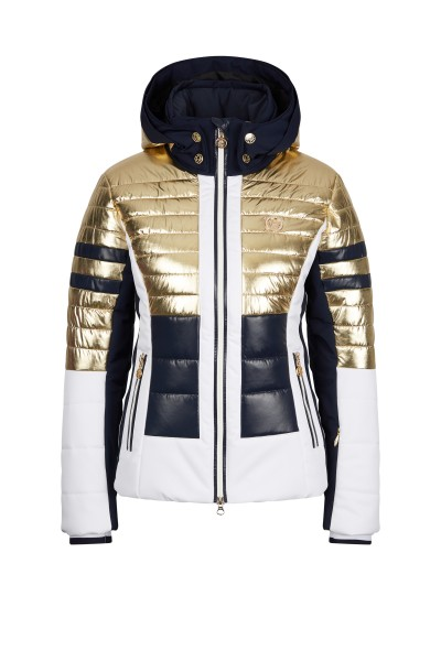 Ski jacket in metallic block stripes design
