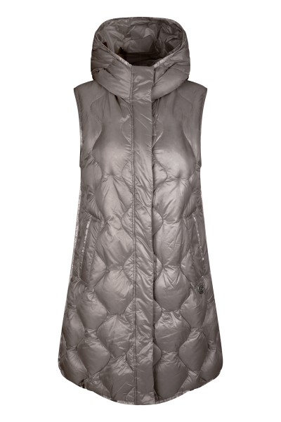 Lightweight unlined long genuine down vest with S quilt and hood