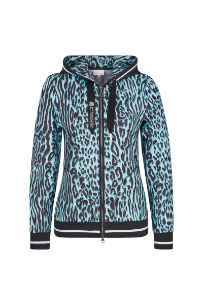 Casual sweat jacket in all-over print, stripes and dog motif