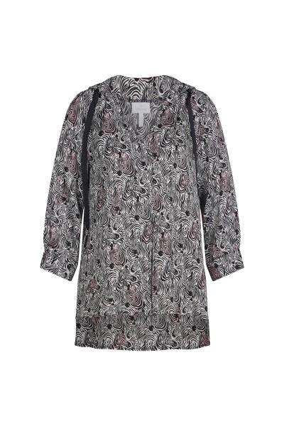Tunic blouse with raglan sleeves