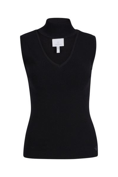 Stand-up collar top in stretch viscose
