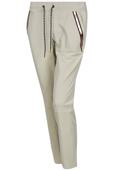 Elegant golf pants with elastic waistband and metallic stripes