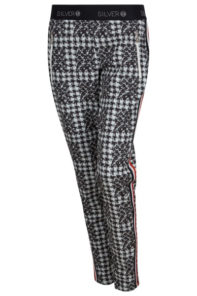 Fashionable printed stretch fabric jogger pants