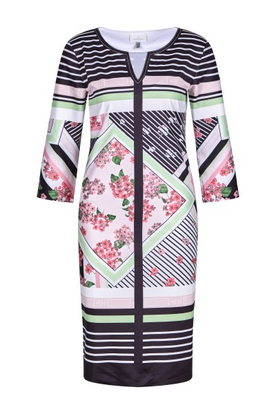 Jerseykleid in Blumen-Streifenoptik