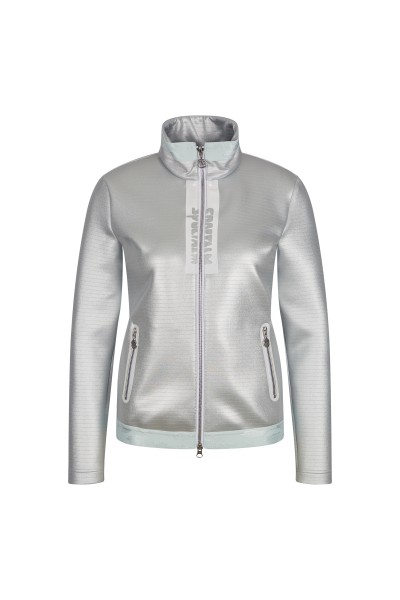 Sweat jacket with stand-up collar