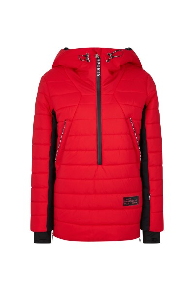 Longer, not zipped through and padded ski jacket with hood