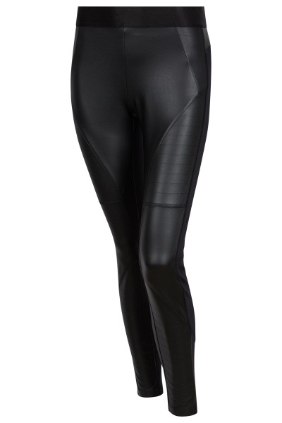 Narrow leather leggings in biker style