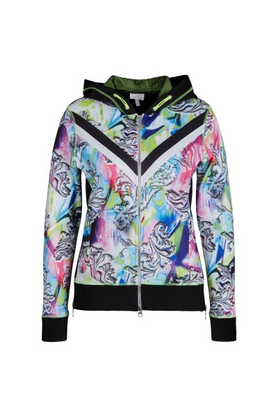 Sporty sweat jacket with large hood and original material mix