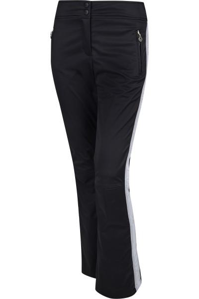 Padded ski pants with raised waistband and Lurex logo band