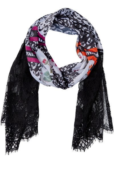 Scarf in allover print with lace detail