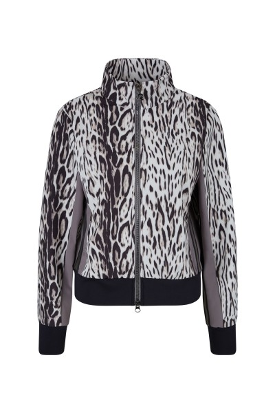 Printed stretch leo-design jogger jacket with stand up collar