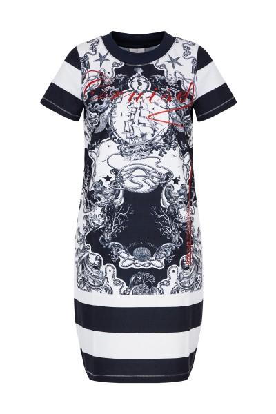 Gestreiftes Kleid mit Glitzerprint