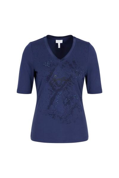 Jerseyshirt  mit Strasssteinchen, Perlen und Nietendetail