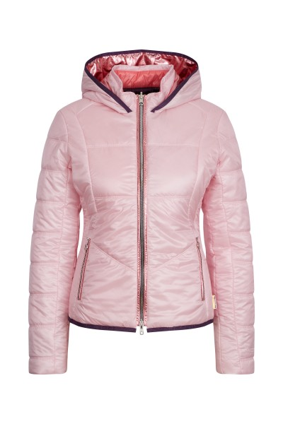 Hooded jacket with metallic ribstop effect