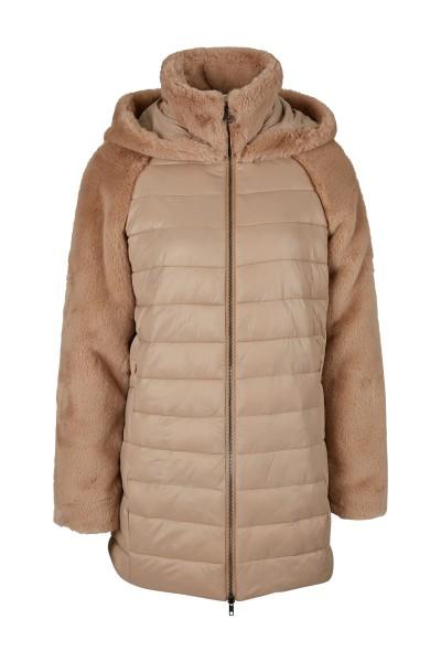 Mantel aus Nylon und Fake-Fur im A-Linien Shape und mit Kapuze