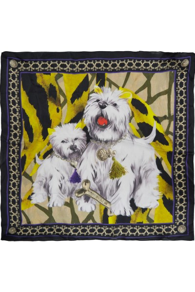 Scarf with dog motif
