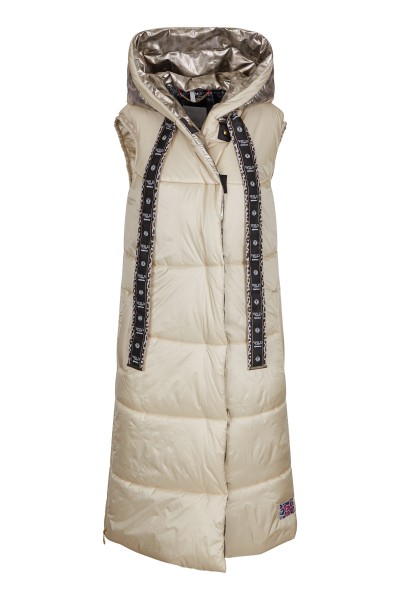 Quilted vest with cantilevered hood