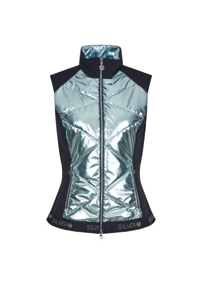 Sleeveless metallic nylon jacket