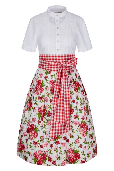 Blouse dress with rosy floral print and sash