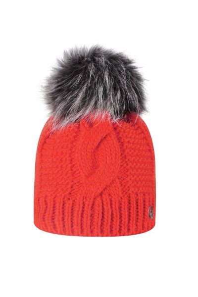 Knitted hat with real fur bobble