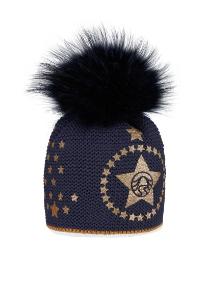 Bommel cap with Icegold stars glitter print