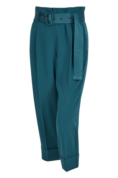 Waisted trousers with shiny stripes on the sides