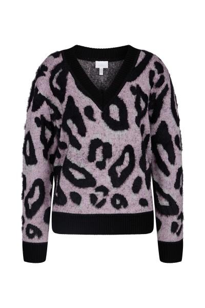 V-neck sweater in jacquard knit