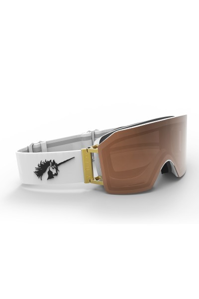 Ski goggles with white/gold/brown magnetic lens
