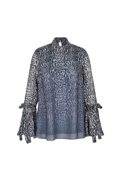 Printed tunic blouse with stand-up collar