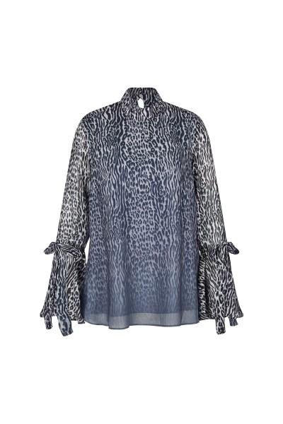 Bedruckte Tunika Bluse mit Stehkragen