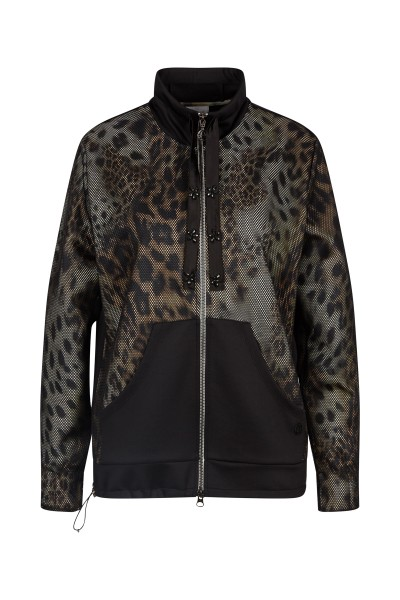 Sweat jacket in leo-print with kangaroo pocket