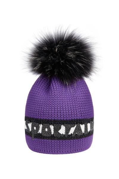 Mütze mit Echtpelz Bommel