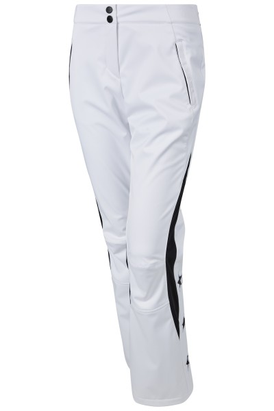Stretch ski pants with jersey insert at back waistband