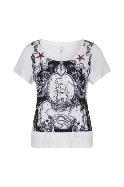 T-Shirt in bedruckter Viskose Qualität