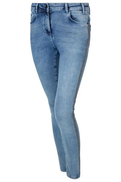 Skinnyjeans mit 5-Pockets und anthrazitfarbene glitzernden Seitenstreifen