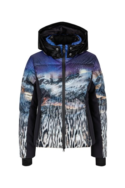 Down jacket with hood and ski fabric side inserts