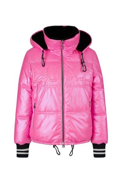 Reversible nylon plush jacket with fashionable hood