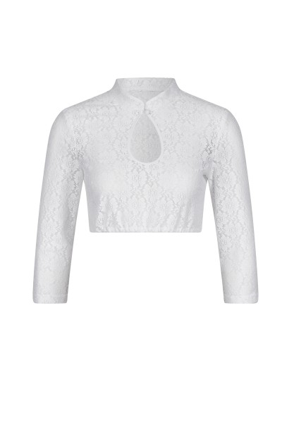 Blouse with stand-up collar and noble lace
