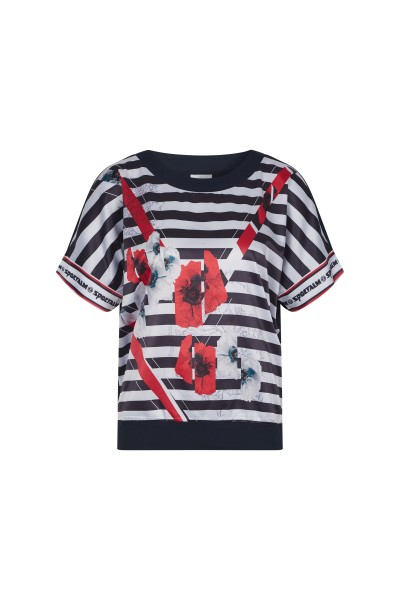 Shirt im Streifenlook und Blütendetail