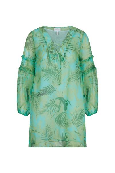 Sommerliche Bluse mit farbenfrohem Palmen All-over Print
