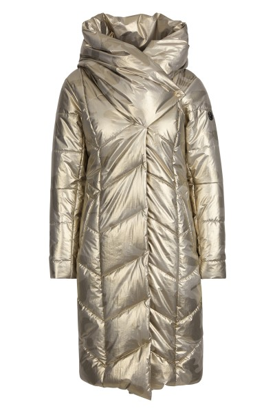 Cozy down coat in gold tone
