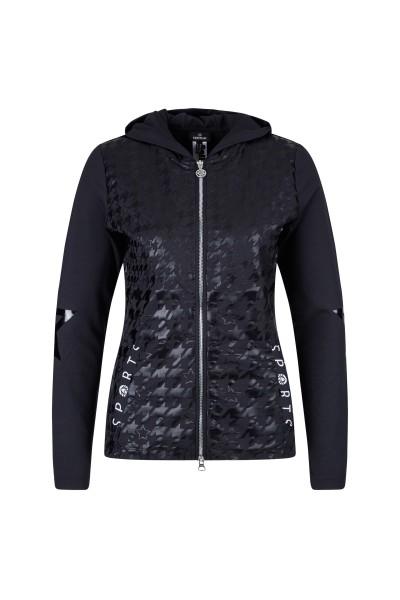 Jersey Jacke mit metallischen Sternenprint in schwarz