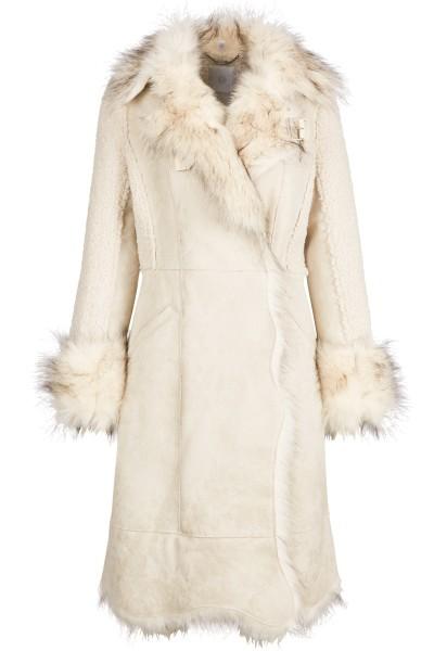 Hochwertiger Mantel in A-Linie aus edlem Velours-Lederimitat