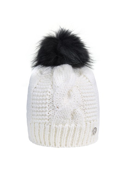 Knitted cap with fur pompon