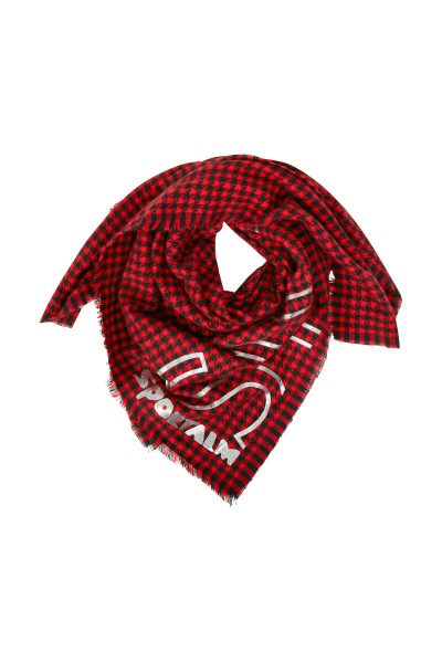 Wool scarf with houndstooth pattern and sporty foil print