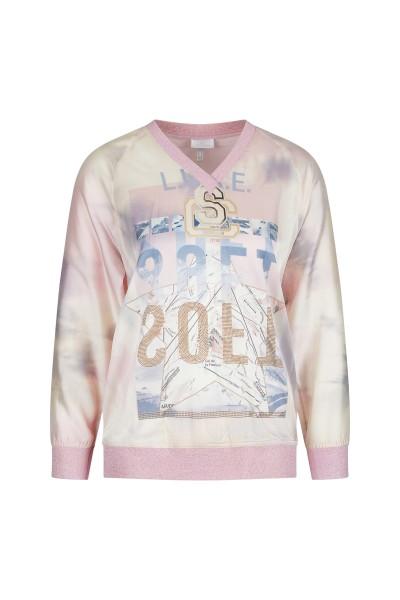 Lässig geschnittene Bluse aus fließenden Stoff im Sweatshirt Look