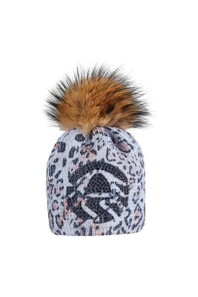 Coarse knit beanie with rhinestone motive