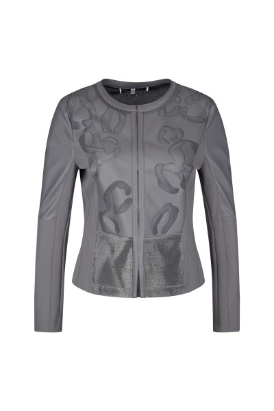 Feminine leather jacket in slim fit with side inserts
