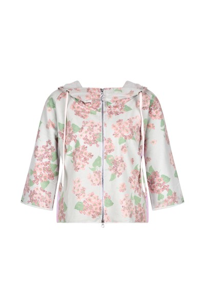 Sweat jacket with a summery, floral print